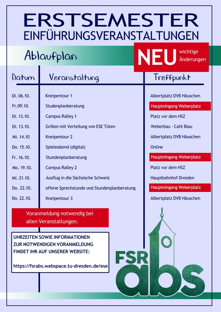 Plakat mit Datum, Art der Veranstaltung und Treffpunkt für eigene Veranstaltungen in der ESE-Woche für Lehramtsstudenten